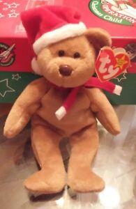 "Santa hat! MWMT TY Beanie Babies /""1997 HOLIDAY TEDDY/"" Christmas Bear RETIRED"
