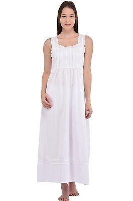 Classica Camicia Da Notte Senza Maniche Bianco | Cotone Lane-mostra Il Titolo Originale