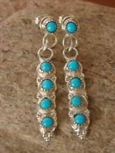 Native-American-Sterling-Silver-Turquoise-Dangle-Earrings-Zuni-Indian