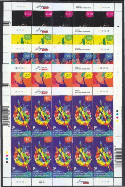 SINGAPORE 2016 50TH ANNIV. SINGAPORE YOUTH FESTIVAL 5 FULL SHEETS 10 STAMPS MINT