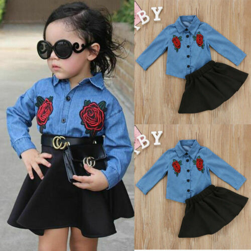 Toddler Kids Baby Girls Outfits Floral Clothes Denim Shirt Tops Tutu Dress Sets