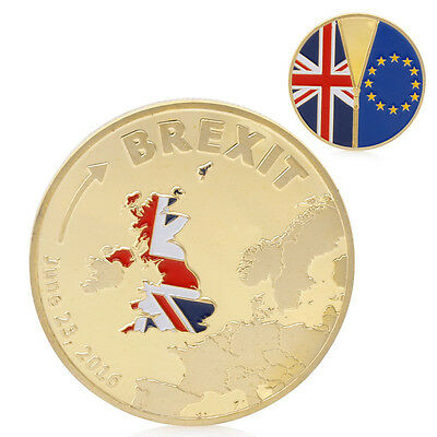 Gold Plated 2016 Cook Islands Brexit Commemorative Coin Collection Physical Gift