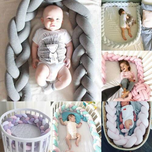 Neu Baby Nestchen Kopfschutz Knotenkissen Bettschlange Farbe Babynestchen 1M-4M