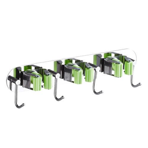 TH/_ Mop Broom 4//5 Holder Wall Mount Clip Handle Hanger Hook Rack Organizer Kitch