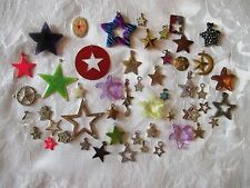 Lot 50 STARS Charms Pendants Rhinestone Enamel FACETED Glass Silver Gold Tone