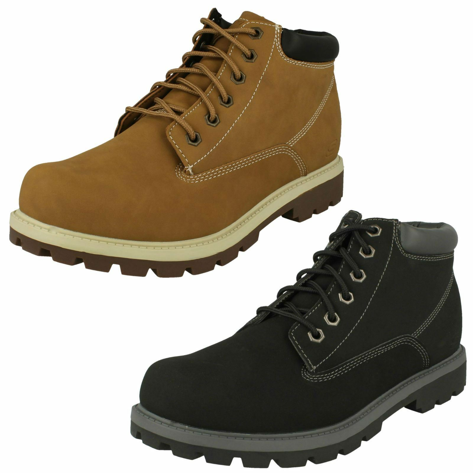 Mens Skechers Rounded Toe Casual Everyday Lace Up Synthetic Ankle Stiefel Amado