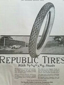1919-Republic-Tires-Rubber-Co-Billboard-Youngstown-OH-original-ad