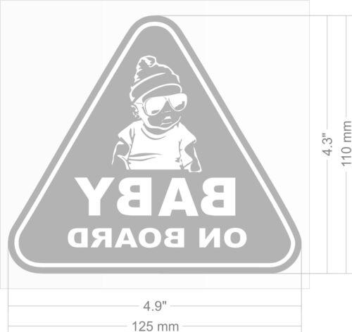 2 x STICKER Baby On Board Child Boy Car Window Safety Sign Transparent