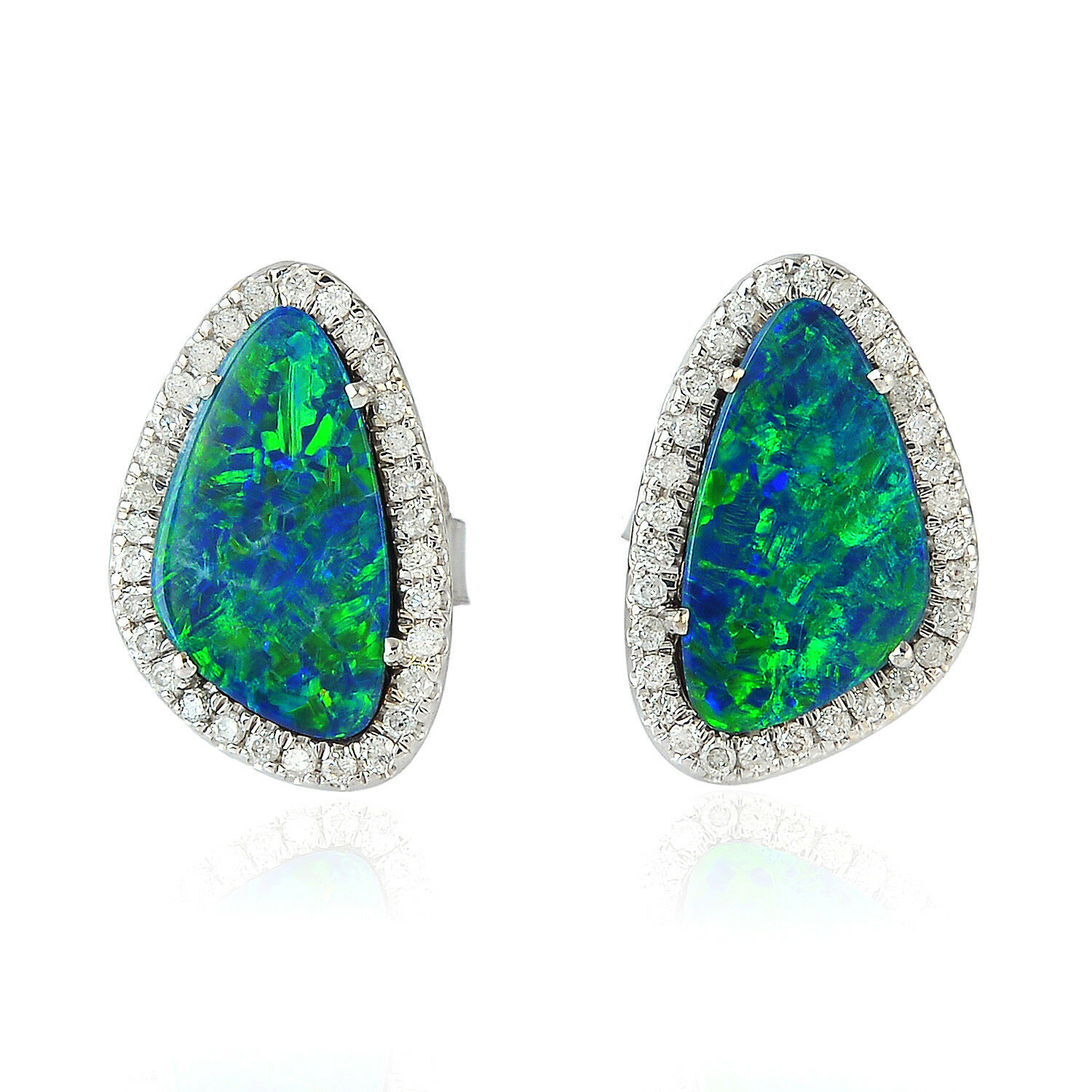 0.3ct Pave Diamond Opal Doublet Stud Earrings 18k White gold Girl's Gift Jewelry