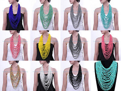 11 Colors Hot Sell Handmade 42 Layer Mini Beads Cluster Coat Chain Long Necklace