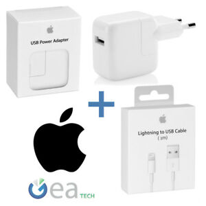 Caricabatterie-ORIGINALE-APPLE-12W-MD836-Cavo-Lightning-1mt-MD818-per-Iphone-X