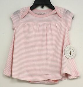 191d35772f2 Burts Bees Baby One Piece Outfit White with Pink stripes Dress ...
