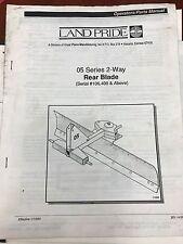 Land Pride Operators Manual 05 Series 2 Way Rear Blade Used 301 143m