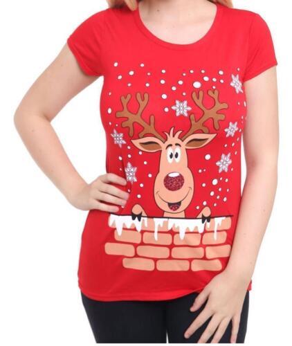 Woman/'s Reindeer Ladie Christmas Glitter Santa Snowman Printed T-Shirt Tops 8-30