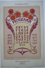 Schriften Vorlage Programm Orig Lithografie F. Schweinmanns Jugendstil 1900