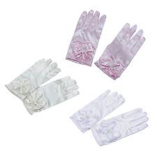 Kid Gloves Short Satin Feel Boy Hold Flower Girl Performance Dance Elastic C1T6