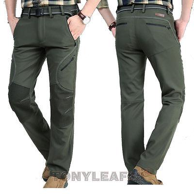 80734e8f3655 Mens Soft Shell Waterproof Outdoor Fleece Lined Pants Hiking ...