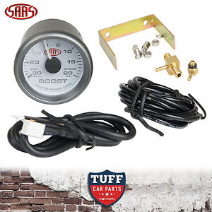 SAAS-Turbo-Boost-Vacuum-Gauge-White-Face-Dial-52mm-Multi-Colour-Fitting-Kit