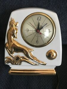 Vintage-Art-Deco-Gazelle-Antelope-Electric-TV-Clock-White-Gold-Sessions-MCM