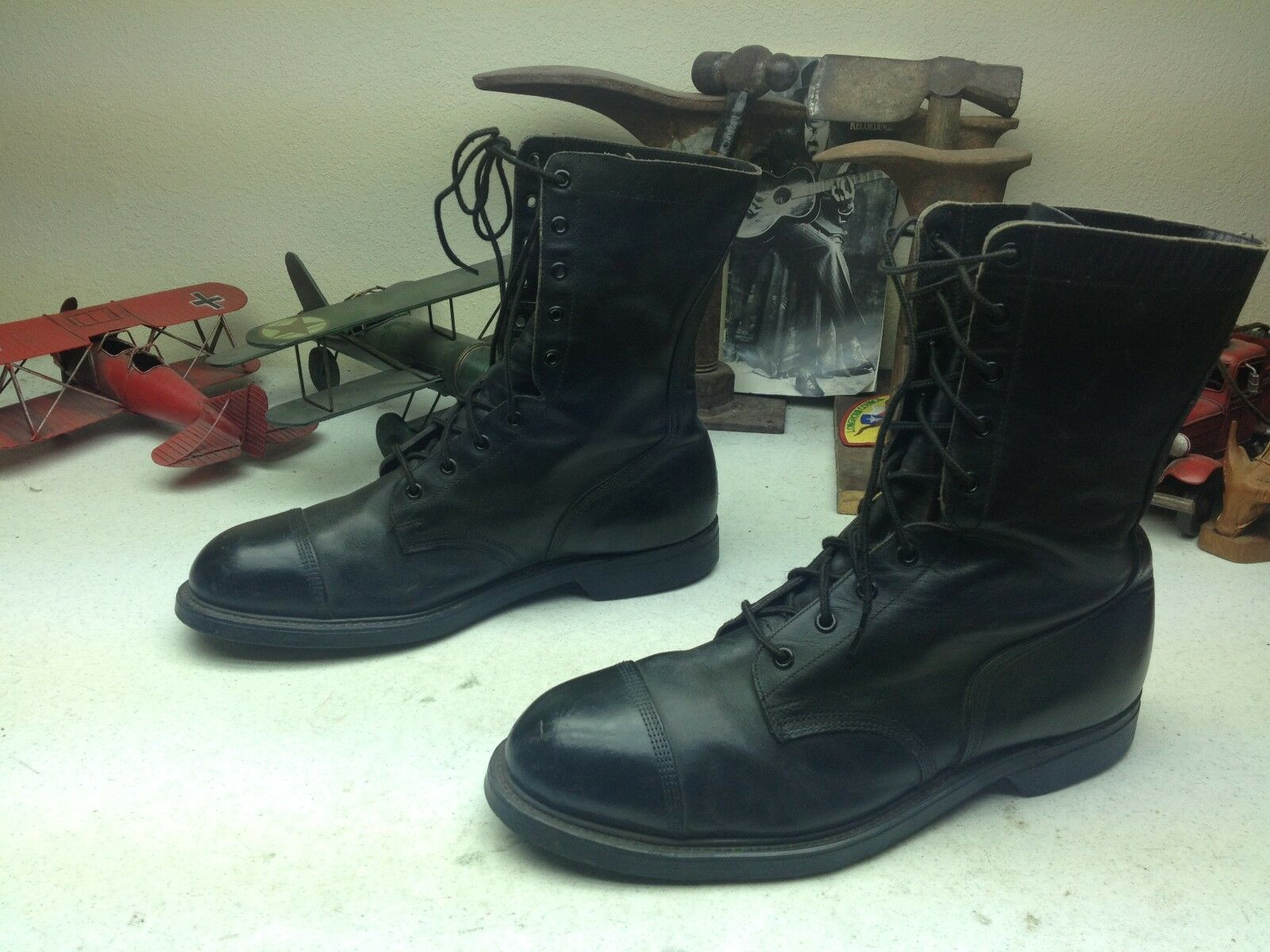 Vintage 1981 militar EE. UU. Negro Cuero Con Cordones ingeniero BOSS Ejército botas botas 11W
