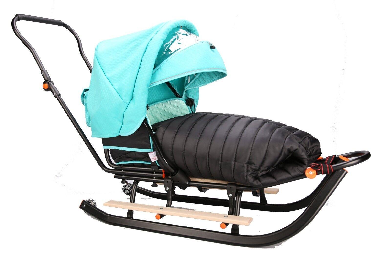 Nuevo Grande 112cm Negro 3in1 nieve trineo con saco, Reposapiés & Luz LED