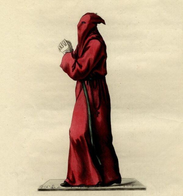 Italie Costume religieux Pénitent Rouge Italia - Bar gravure originale XVIIIe