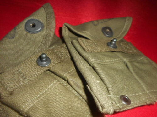 WW2 X 2  SEPARATE MAGAZINE POUCHES-DOUBLE,WEB,CARBINE,Cal.30 M-1 Details about  /U.S.ARMY: