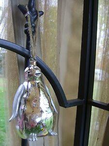 Pottery Barn Silver Penguin Mercury Glass Ornament New