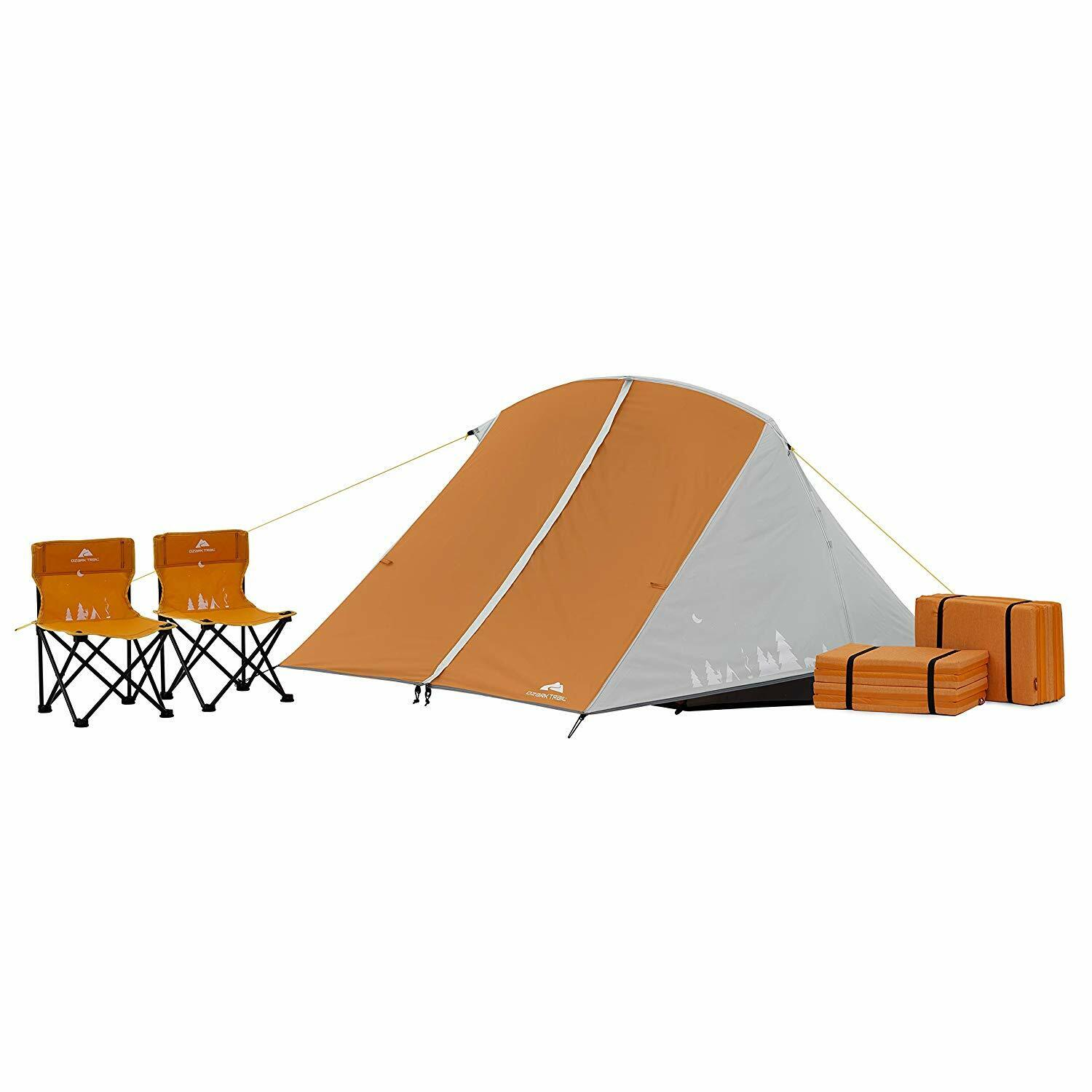 Kids Camping Tent Bundle 3 Person Quad Chairs Nap Pads Carry Bag Sleep Over Camp