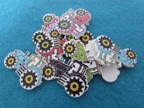 30mm Wooden Tractor Buttons in Assorted Colours Available in Packs of 2 5 or 10