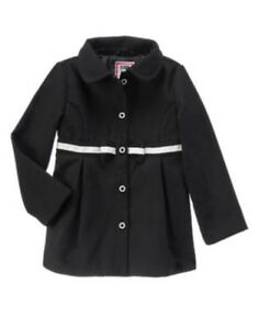 GYMBOREE-OLIVIA-COLLECTION-BLACK-COAT-w-BOW-WAIST-4-5-6-7-8-10-12-NWT