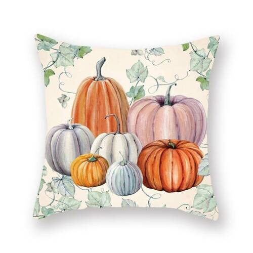 Selling Hand Painted Pumpkin Watercolor Thanksgiving Home Sofa Square Printing