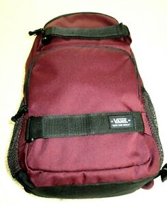 Vans Skates Pack 3-B Backpack Maroon Black Board Straps Unisex Free Ship NWT