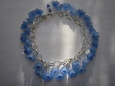 Blue Lucite Flower Charm Bracelet - Silver Plated - Bluebells