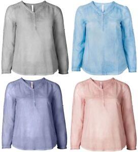 Sheego-Damen-Tunika-Shirt-Top-Bluse-Oberteil-Sommer-Blau-Rosa-Grau-Lila-NEU
