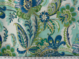 Drapery Upholstery Fabric Cotton Slub Linen Look Tropical Print