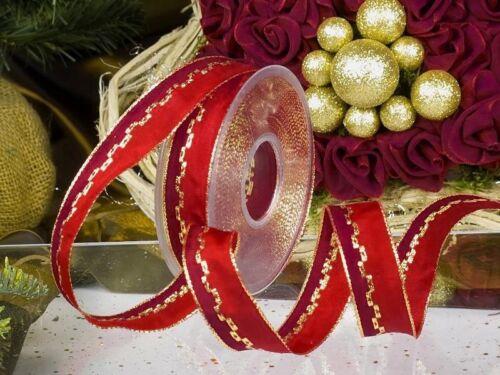 1m Fixation 25mm fil Dekoband geschenkband Lurex Ornement weihnachtsband