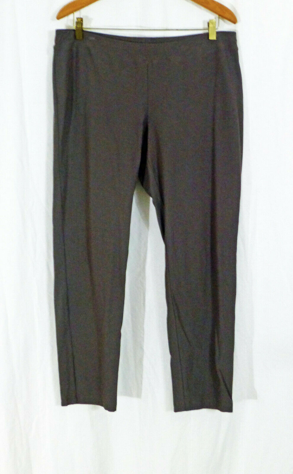 EILEEN FISHER DK TAUPE BRN WASHABLE STRETCH CREPE KNIT SLIM LEG ANKLE PANT L LN