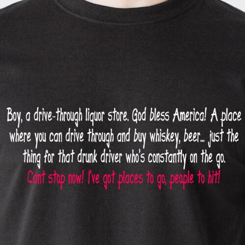 God bless America beer retro Funny T-Shirt Boy a drive-through liquor store