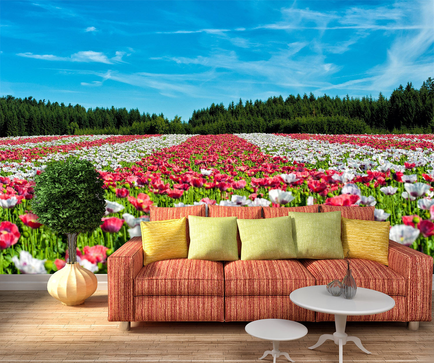 3D Flowers Field bluee Sky 80 Wallpaper Decal Dercor Home Kids Nursery Mural Home