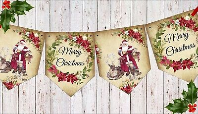 Vintage Merry Christmas.Traditional Vintage Merry Christmas Christmas Bunting Banner Ribbon 3m Ebay