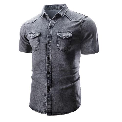 New Men/'s Casual Fashion Slim Stylish Short Sleeve Denim Washed Shirts