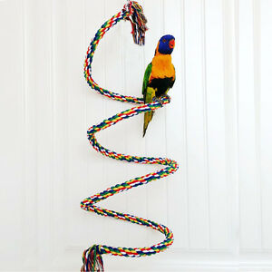 1M-Pet-Bird-Parrot-Rope-Coil-Swing-Perches-Cockatiel-Conure-Budgie-Cage-Toys