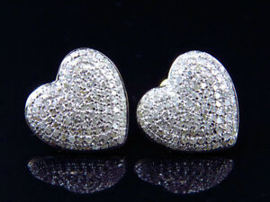 b377cdc6235bf Details about 10K Yellow Gold Ladies Pave Round Diamond Heart Invisible  Studs Earrings 1.20 Ct