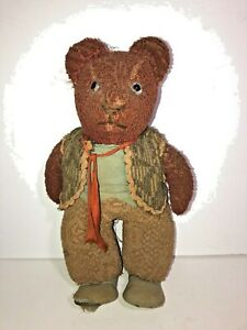Antique-Brown-Dressed-Teddy-Bear-Custom-Artist-Handmade-Vintage-1920-039-s-30-039-s