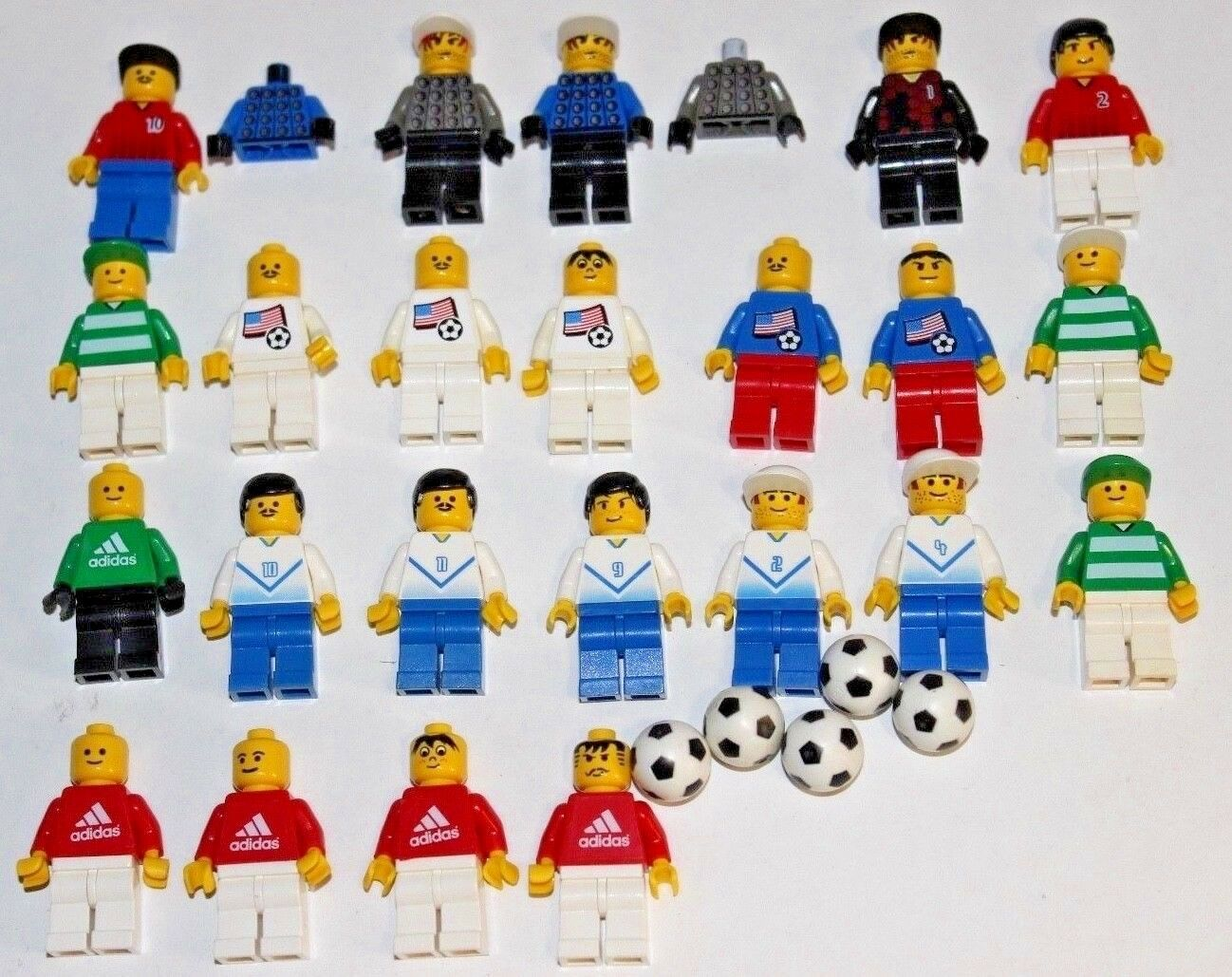 LEGO Lot - Soccer, Football Minifigures Adidas, & Balls - Adidas, Minifigures USA Nationals, Goalies 6ca9d4