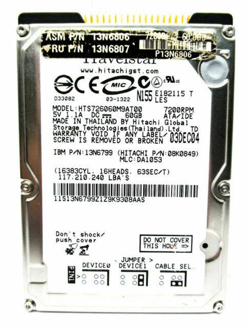 13N6798 Hitachi 80Gb 4200Rpm Internal 2.5Inch Hard Drive