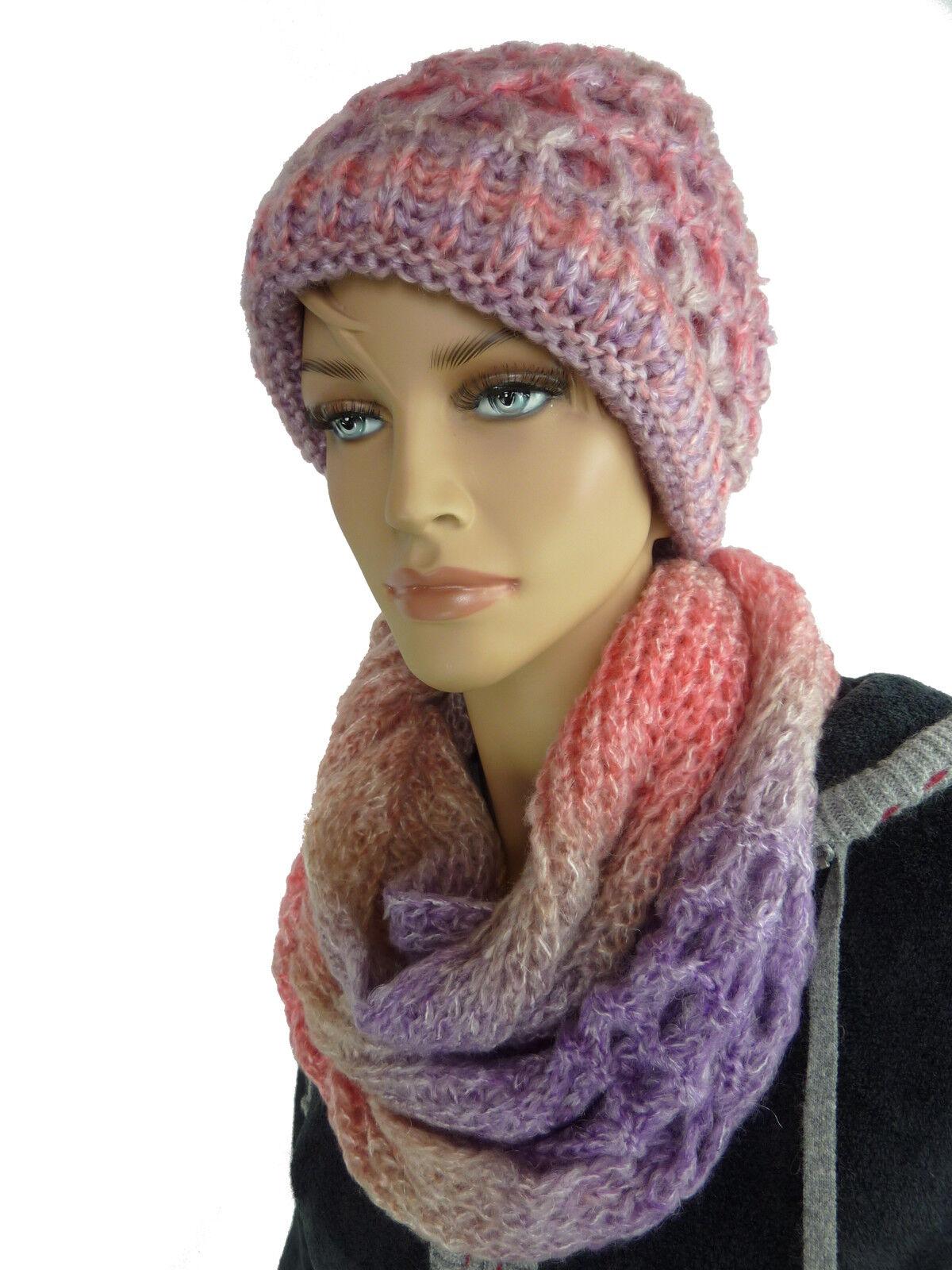 Beera Femmes Hiver Lot Bonnet + Écharpe Foulard Tube Bonnet de Tricot Loop