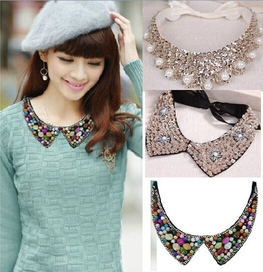 Women Detachable Vintage Pearl beaded Peter Pan Collar Handmade Choker Necklace