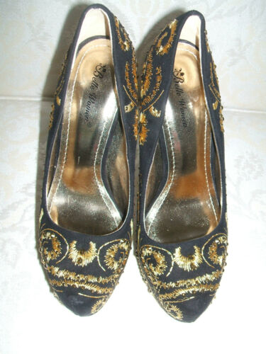 NEW SIZE 3 4 5 6 BLACK GOLD DIAMANTE EMBROIDERED HIGH HEEL PLATFORM COURT SHOES